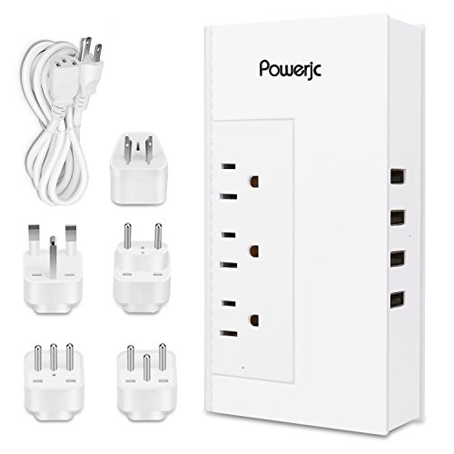 Voltage converter Power Adaptr 220V to 110V with 6A 4 USB Ports and UK/AU/US/EU/Italy Plug Meet ETL safety certification,Powerjc,[Patent Protected] (White)