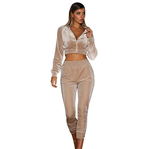 Sunward Women's Long Sleeve Casual Sport Soft Active 2 Piece Velour Full Zip Top & Pants Tracksuit Set (S, -
