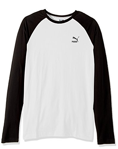 PUMA Men's Archive Logo Raglan Long Sleeve T-Shirt, White, Large