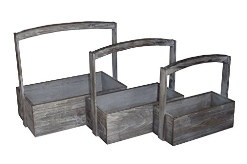 t of 3 White Washed Rectangular Wooden Storage containers with Raised Center Handles, Gray, 3 Piece ()