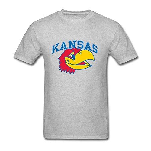 Custom Printed Men Kansas Jayhawks Partial 100% Cotton Short Sleeve T-Shirt Grey XS (Wiz Live Costumes)