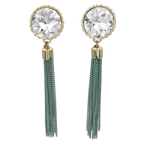 - Long Chain Tassel Fringe Rhinestone Bling Post Dangle Boutique Style Gold Tone Earrings (Green)