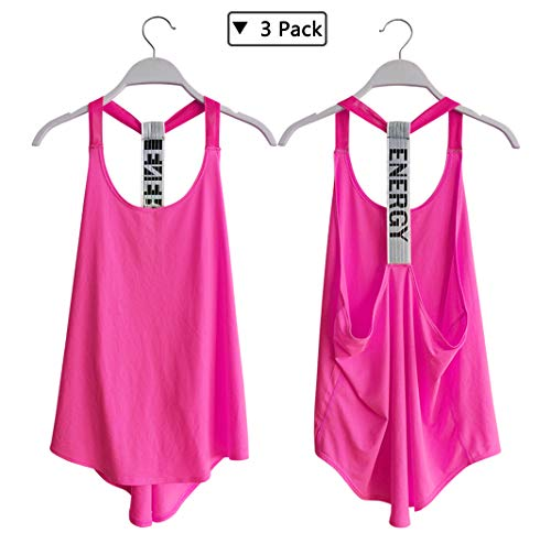 KEFITEVD Women's Athletic Backless Sports Yoga T-Shirt Sexy Open Back Stretchy Workout Tank Tops 3 Pack, Tag M, US S ()