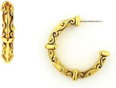 1928 Jewelry Neoclassical Style Gold Tone Hoop Earrings