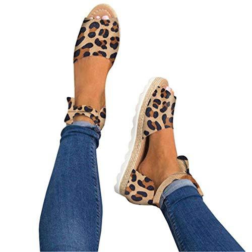 (Mafulus Womens Espadrille Flat Sandals Ankle Strap Open Toe Summer Platform Wedge Sandals)