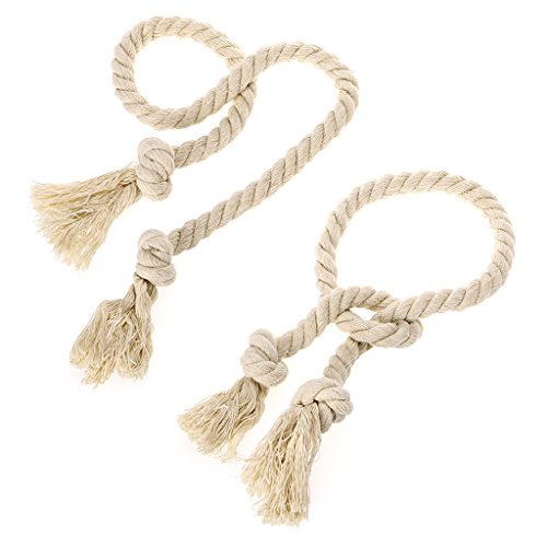 BTSKY 2 Pieces Natural Cotton Curtain Rope Tiebacks-Handmade Curtain Decorative Holdbacks Rural Style Drapery Tieback (Beige')