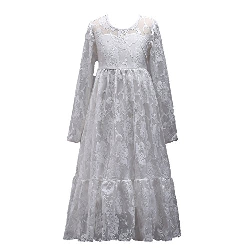 WJX Girl Dress,Lace Seat Skirt,Sleeveless Piano Banquet Skirt Pageant Dresses,Kids Prom Ball Gown,Party Wedding Bridesmaid Princess Dresses Costume (4-15years Old),White,160# ()