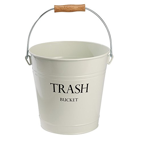 InterDesign Pail Metal Round Wastebasket Trash Garbage Can for Bathroom, Bedroom, Home Office, Kitchen, Patio, Dorm, College, Ivory