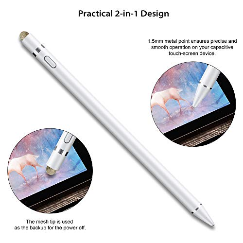 Active Stylus Pen Compatible with Apple iPad, Homagical 1.5mm Fine Point Digital Stylus Pen, Rechargeable Capacitive Digital Stylus for Touch Screen Devices (Glove &Pen Bag Included)