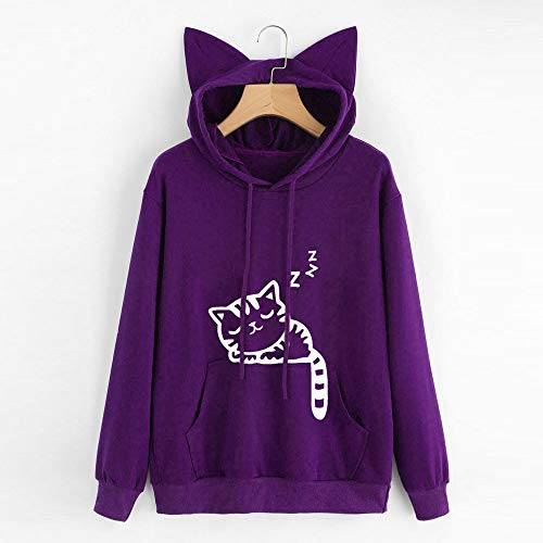 Purple Sweatshirt Cat Tops Hooded Womens Hoodie Sleeve Blouse Long Pullover Breathable Comfort Light Weight DOLDOA 6pz0xqww