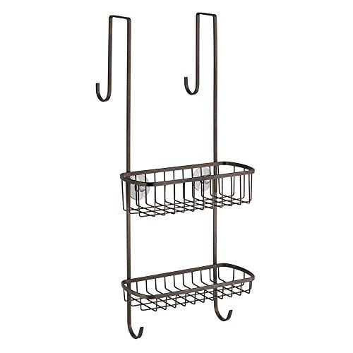 InterDesign Gia Over Shower Door Caddy - Bathroom Storage Shelves for Shampoo, Conditioner and Soap, Bronze - Bronze Shower Caddies