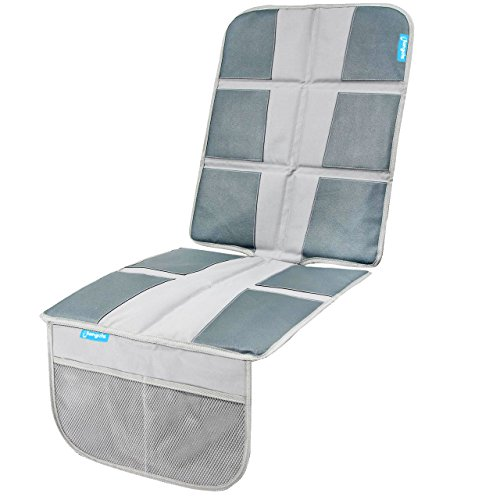 Grey Child Baby Car Seat Protector- Enhanced Padded Booster Seat Cover for Vehicles - Waterproof Seat Protectant - Extra Large Storage Pocket - Prevents Dirt and Damage (Grey)