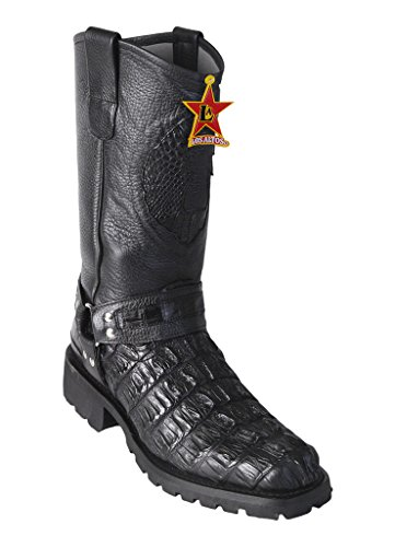 - Men's Biker Design Black Genuine Leather Caiman Tail Western Boots Industrial Sole