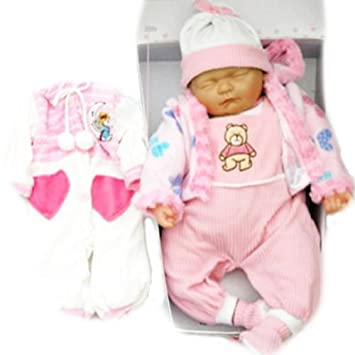 cc378a7514 New Born Sleeping Soft Bodied Baby Doll with 2 Outfits   Gift Box Toy 18