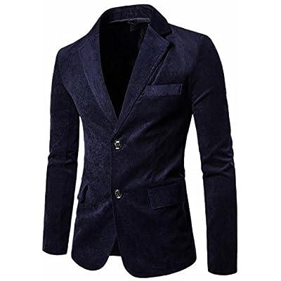 Alion Men's 2 Button Notch Lapel Patch Corduroy Blazer Jacket Sport Coat for sale