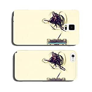 Cassette tape over wooden table with tangled ribbon. top view. r cell phone cover case iPhone6 Plus