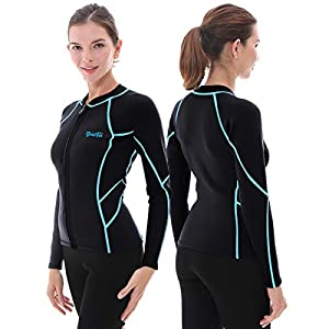GoldFin Womens Wetsuit Top, 2mm Neoprene Wetsuit Jacket Long Sleeve Front Zip Wetsuit Shirt for Swimming Water Aerobics…