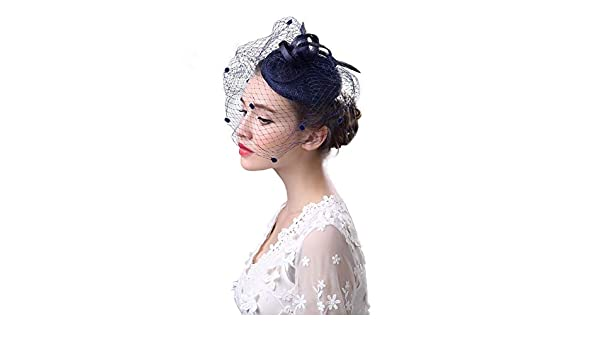 ROZKITCH Fascinators Hat Flower Mesh Ribbons with Veil Tea Party Cocktail Headband for Girls and Women Blue