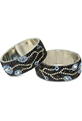 Chamak by priya kakkar Black Set of 2 Crystal Vine Motif Bangle Bracelet