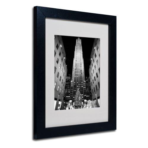 Trademark Fine Art Rockefeller Night by Yale Gurney Canvas Artwork in Black Frame, 11 by 14-Inch (Artwork Center Rockefeller)