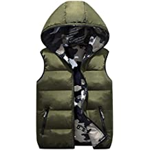SUKEQ Women Camouflage Sleeveless Down Vest Warm Hooded Dual-purpose Puffer Jackets Coat Gilet