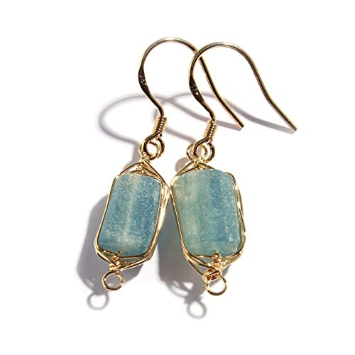 - Scutum Craft Natural Stone Dangle Drop Earrings with Gold Plated Wire Wrap and 925 Sterling Silver Hook Jewelry for Women (Raw Aquamarine Square 10mm)