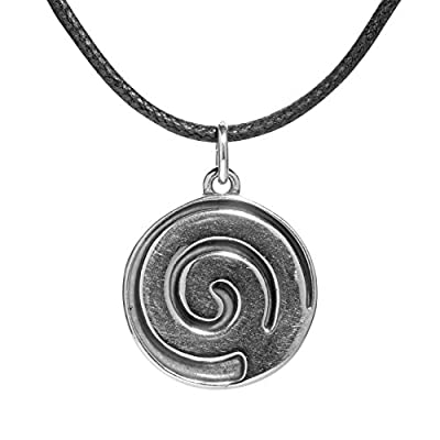 American West - Sterling Silver Black Leather Spiral Inlay Necklace - Earth Spirit Collection