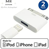 ME SUPERB | 8-Pin Female to 30-Pin Male Adapter | Compatible With iPhone 3, 4S, iPad 3, iPod Touch and More (2 PACK)