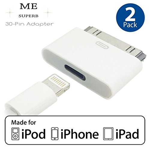ME SUPERB Lightning 8 Pin Female to 30 Pin Male Adapter for iPhone 3 4S iPad 3 iPod Touch 4 (2 PACK)