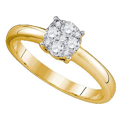 (18k Yellow Gold Diamond Engagement Ring + Wedding Band Bridal Set 7/8 ct )