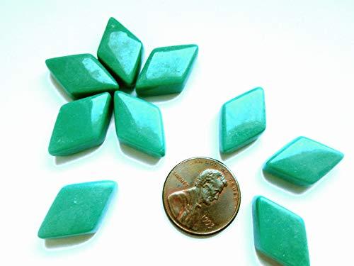 55 Green Mosaic Tiles, Diamond Shape Tiles, Black Geometric Glass Tiles from Shining Eye Arts