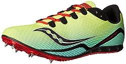 Saucony Men's Vendetta Track Spike Racing Shoe, Citron/Blue/Red, 13 M US