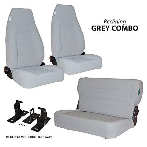 Black Mountain 1976-1995 Jeep CJ/YJ Wrangler Seats Gray Denim Combo 2 Front 1 Rear Seat - Jeep Cj Rear Seat