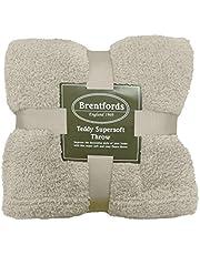 Brentfords Teddy Fleece Blanket Large Throw Over Bed Plush Super Soft Warm Sofa Bedspread, Cream Ivory - 125 x 150 cm