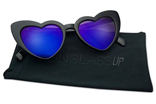 Oversized Lovestruck Round High Tip Heart Shaped Colored Mirror Lens Sunglasses (Black Frame | - Violet Frame