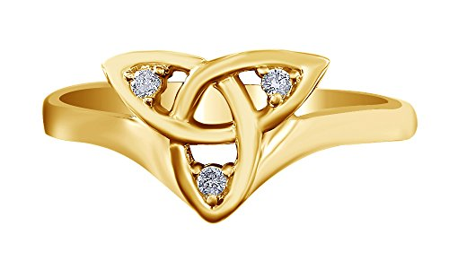 Jewel Zone US Ladies Trinity Knot Natural Diamond Celtic Band Ring in 14k Yellow Gold Over Sterling Silver