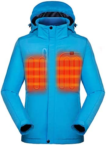 [2021 Upgrade] Women's Heated Jacket with Battery Pack 5V, Heated Coat with Detachable Hood Windproof