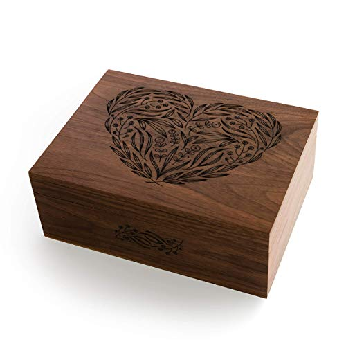 Floral Heart Laser Cut Wood Keepsake Box (Wedding Gift/Baby Shower Gift/Love/Mother