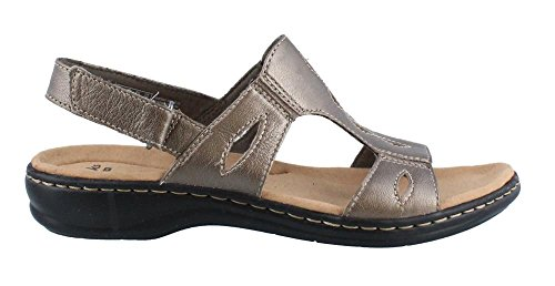 Clarks Womens Leisa Lakelyn Cutout Slingback,Pewter Metallic Leather,US 9 W