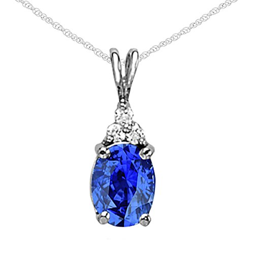 14k Oval Gemstone Pendant (1.30Ct Ttw Diamond And Beautiful Oval Shape Gemstone Pendant In 14K White Gold With 18'' Rope Chain)