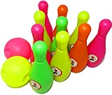 Kids Children Play 6.5' 10 Pin 2 Ball Bowling Set Skittles Set Toy for Kids Indoor Outdoor Garden Party Fun Play Game