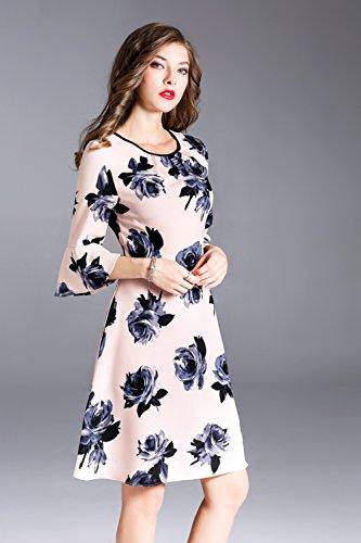Cotylédons Robes De Ligne De Robes De Women`sa Ramassent Partie Manches Cloche Du Cou Rose