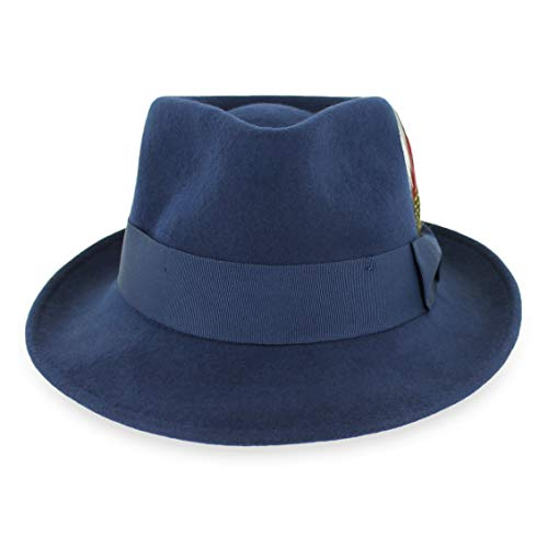 Navy Blue Felt Hat - Belfry Gangster 100% Wool Stain-Resistant Crushable Fedora in 5 Sizes and 2 Colors (XL, Navy)