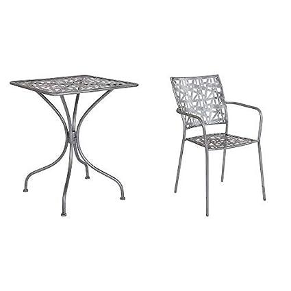 Silver Patio Furniture.Amazon Com Flash Furniture Agostina Series 23 5 Square Antique