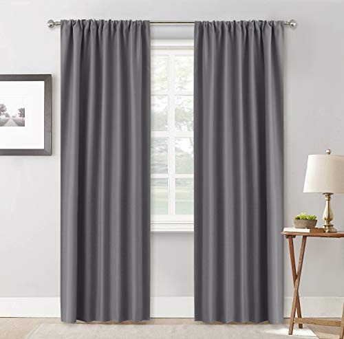 Top Window Curtain Panel - RYB HOME Living Room Blackout Curtains, Rod Pocket Top Window Curtain Panels, Light UV Block Insulated Drapes for Nursery, 42 inch Width by 84 inch Length, Grey, Set of 2