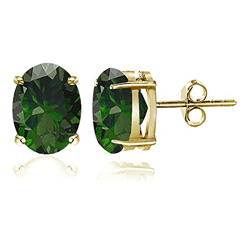 Gold Tone over Sterling Silver Created Emerald 8x6mm Oval Stud Earrings