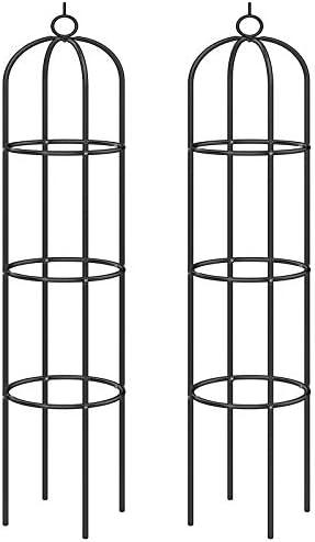 Deuba Rosensäule 2er Set Rosenbogen Rankgitter Obelisk Rankhilfe 200 x 40cm pulverbeschichtetes Metall witterungsbeständig