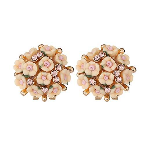 - Explosion models popular wild earrings temperament ceramic flower earrings,Yellow-KC gold