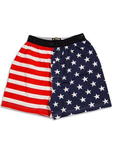 Fun Boxers - Mens American Flag Boxer Shorts, Red, White, Blue 31344-Medium