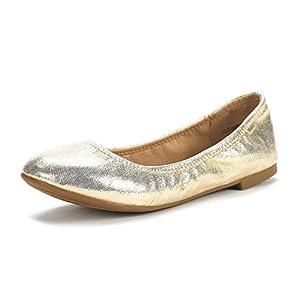 Dream Pairs Women's Sole Happy Gold Ballerina Walking Flats Shoes - 9 M US